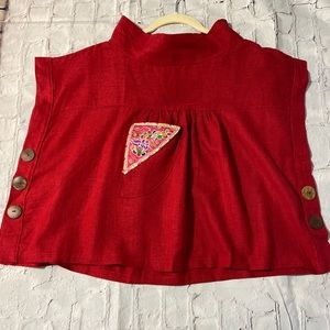 Red Asian inspired crop top